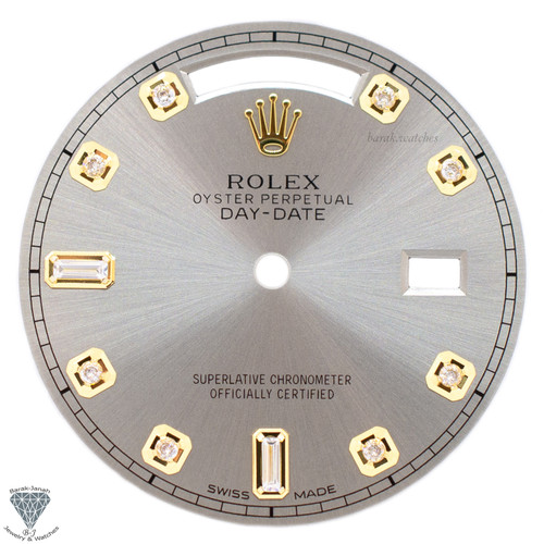 Beige Baguette Diamonds Rolex Dial For Rolex Day-Date Caliber 3155 3055