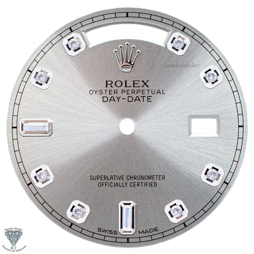 Beige Baguette Diamonds Dial For Rolex Day-Date 36mm Caliber 3155 3055 - Silver