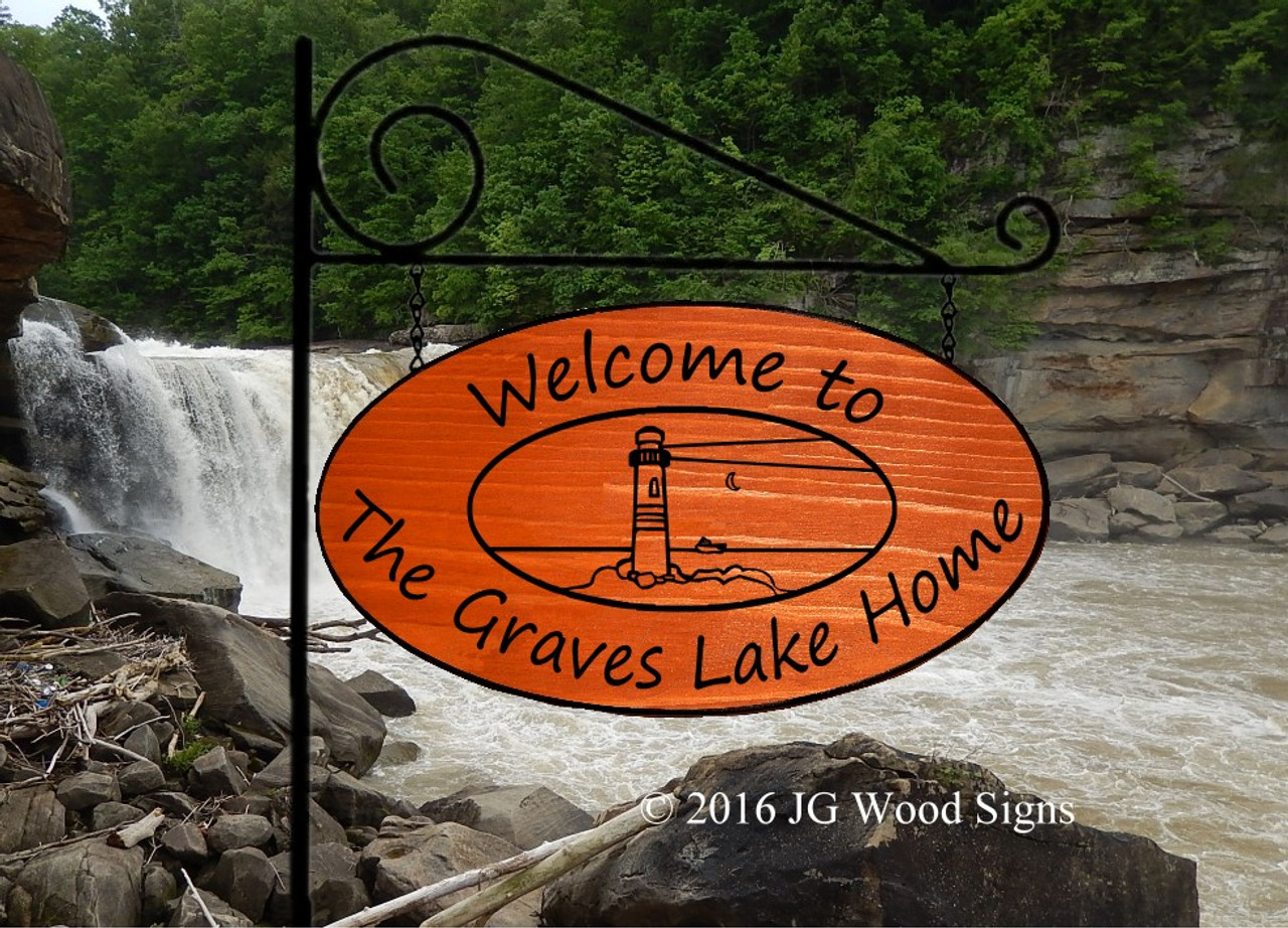 Personalized Wooden Signs Large Oval Personalized Gift Family Name Sign Lighthouse Custom Wooden Lake Sign With Optional Sign Holder Name Sign