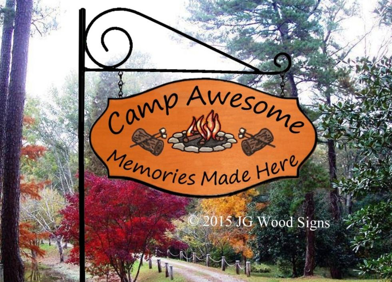 Wood Camping Sign Extra Large Campfire Logs Smores Personalized Family Name Camping Sign Custom Wood Sign With Xl Garden Sign Holder Option