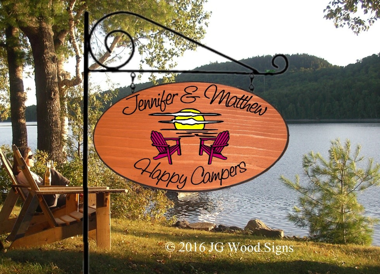 Customized Camping Signs Adirondack Chair Sunset Graphic Custom Carved Wooden Camp Sign With Sign Holder Option Jennifermatthew