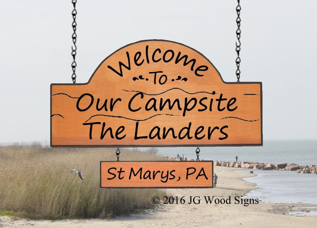 Personalized Wooden Camp Signs Rv Name Sign Family Name Sign With 1 Add On Sign Holder Option Jg Wood Signs Etsy Personalized Gift Rv Sign Camping