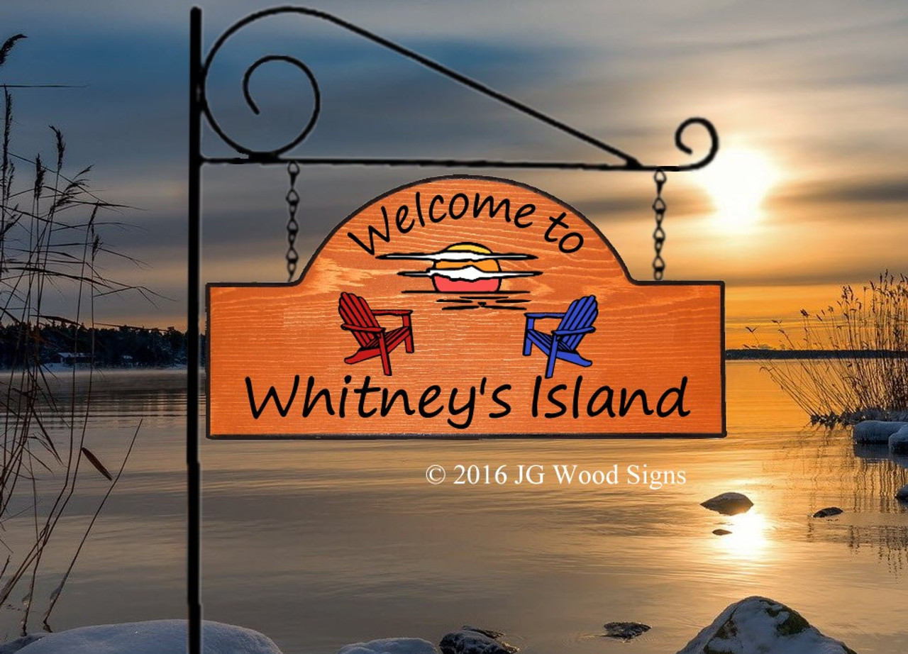 Custom Camping Sign Sunset Adirondack Chair Graphic Custom Sign Cottage Sign With Sign Holder Option Jg Wood Signs Etsy Lake Sign Wood Sign