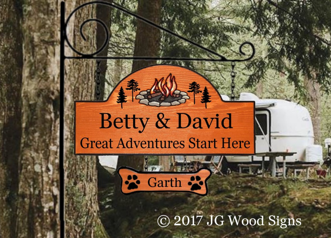 Personalized Wood Sign Great Adventures Start Here Campfire Pine Graphic Camp Sign Wood Sign Dad Gift Jgwoodsigns Etsy Camping Sign