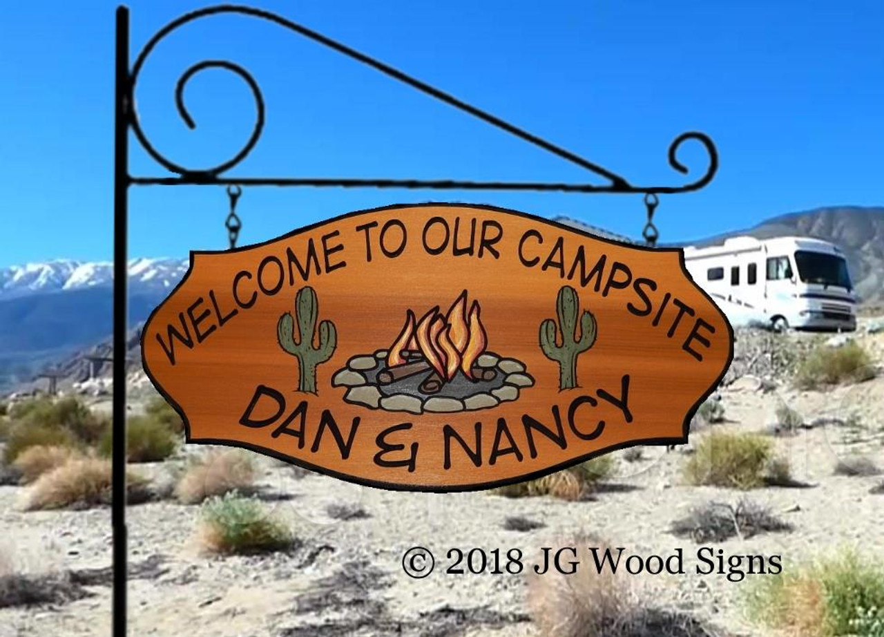 Wood Camp Signs Colored Campfire Graphic With Cactus Personalized Gift Camping Sign Great Dad Gift With Sign Holder Option Jgwoodsigns Etsy Rv