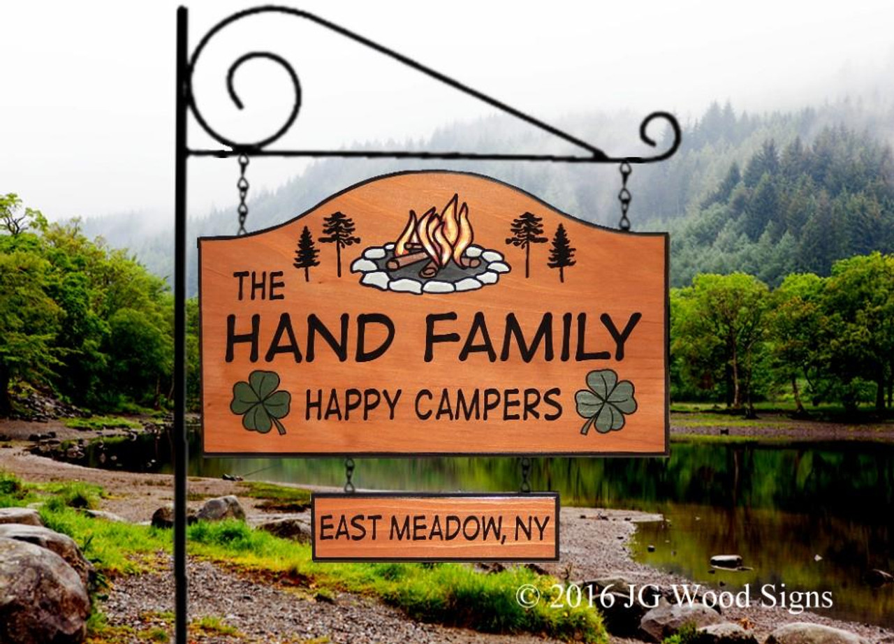 Wooden Campground Signs Personalized Gift Large Camping Sign Shamrock Wood Carved Sign Campfire Pine With 2nd Graphic With Sign Holder Option Jg