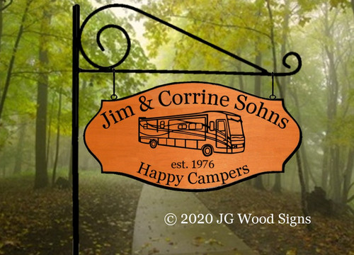 Personalized Gift  Etsy Happy Campers Sign Campsite Name Sign with optional sign holder - JGWoodSigns - RV Camping Sign Wood Camper Sign Sohns