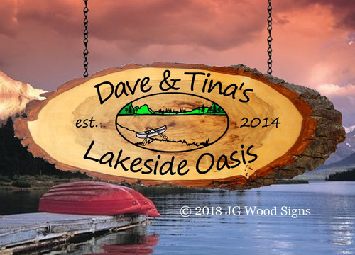 Lake Oval  Personalized Wood Slab Oval with Outer Bark - Custom Carved Outdoor Name Sign with address line- Father's Day Gift