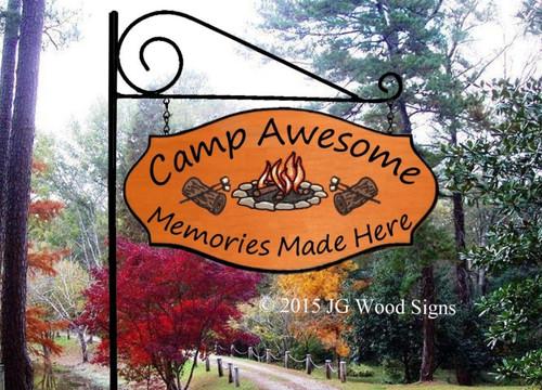 Wood Camping Signs