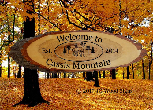 Campsite Signs Wood Slab