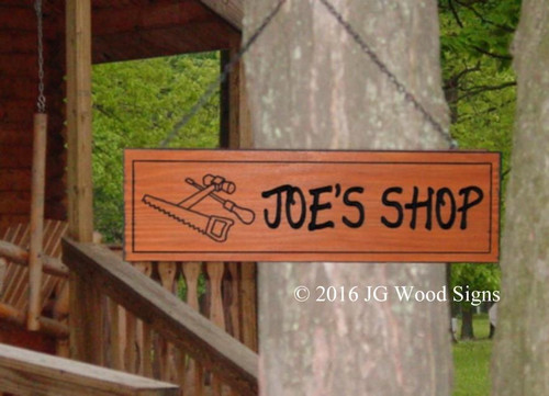 Carved Wood Workshop Sign