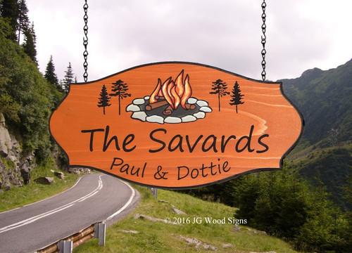 Segoe Print font.  Campfire Pine graphic.