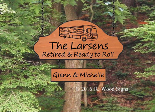 Campsite Name Sign - RV Camping Sign - Includes optional RV Sign Holder - JG Wood Signs Carved Wood Signs for Camping Larsen