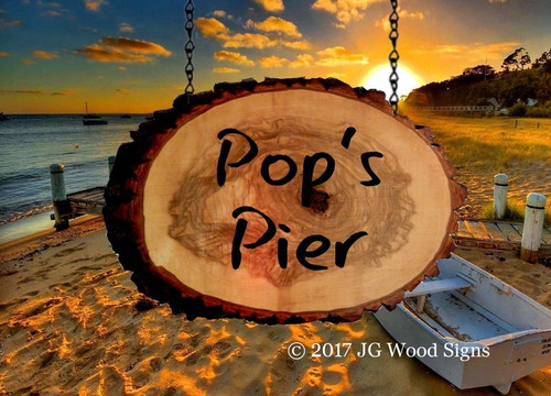Outdoor Wooden Signs - Wood Slab Round with Outer Bark - Custom Carved Camping Sign with Sign Holder option PopsPier