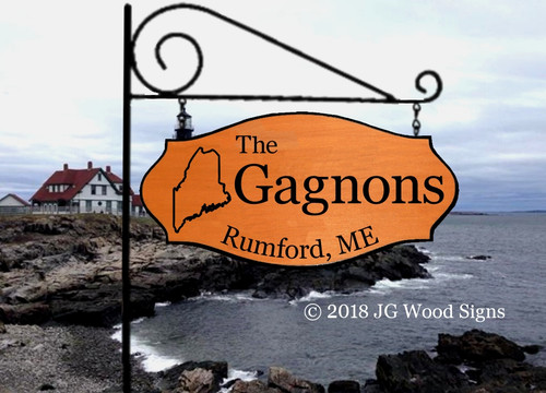Carved Wood Signs - Custom State Outline - Family Name Wooden Camp Sign - Personalized Family Name Sign  with sign holder option - JGWOODSIGNS Gagnon