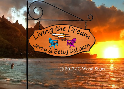 Beach Sign Lake Sign - Colored Sunset Graphic with chairs - Personalized Camping Sign  - Mom Gift - Dad Gift with Sign Holder Option -  Name Sign DeLoach