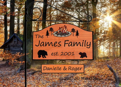 Custom RV Signs Campfire Pine Personalized Large Camping Sign - Wood Carved Sign - Campfire Pine with 2nd graphic - with sign holder option JG Wood Signs Wood Camping Sign James