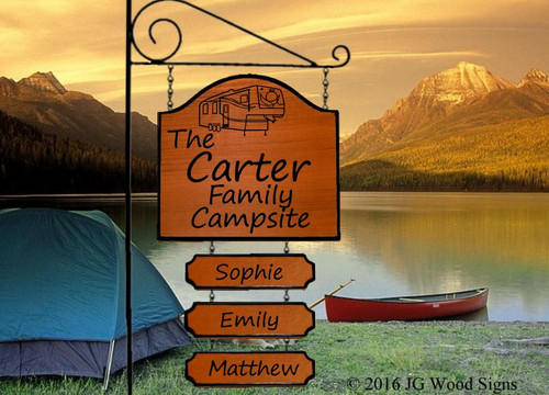 Personalized Sign for Camper - 5th Wheel  - Wood Camper Sign with Sign Holder Option - JGWoodSigns Custom RV Sign Carter