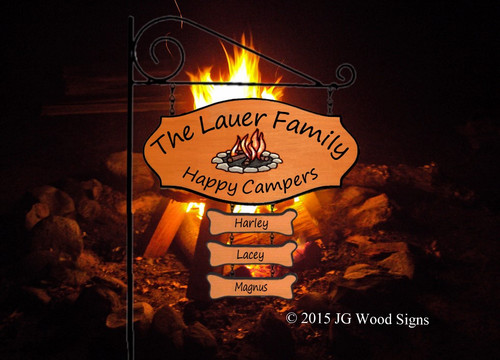 Happy Camper Family Camping Sign - Custom Wood Sign- Colored Campfire Graphic with sign holder option JG Wood Signs RV Campsite Sign Lauer