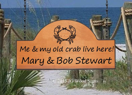 Personalized Gift Beach Sign - Crab House Sign - Welcome - Family Name Sign JG Wood Signs Etsy-  Outdoor Sign - Lake Sign Cottage Sign Stewart