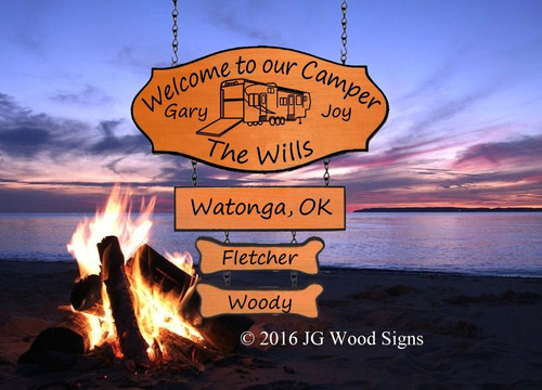 Wooden RV Signs Campsite Name Sign with Large Addon and 2 Dogbones - Dad Gift Carved Camping Sign with RV Sign Holder Option JG Wood Signs Etsy Outdoor Sign Personalized Gift Wills