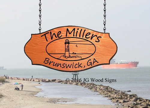 Beach Signs Personalized Gifts  Custom Sign - Lighthouse Oval with Sign Holder Option - JGWoodSigns Beach House Sign Miller
