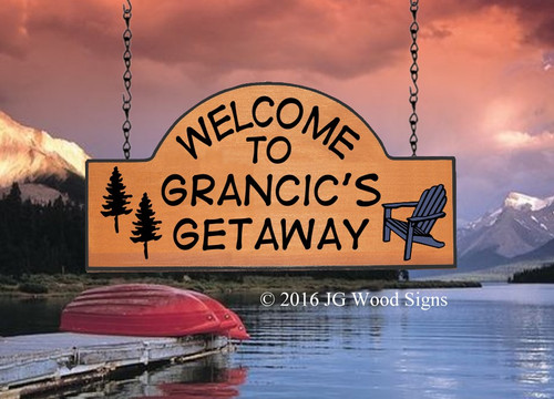 Wood Camping Signs - Pine Tree Adirondack Chair Graphic - Custom Sign with Sign Holder Option JGWoodSigns Etsy Cabin Sign Cottage Sign Grancic