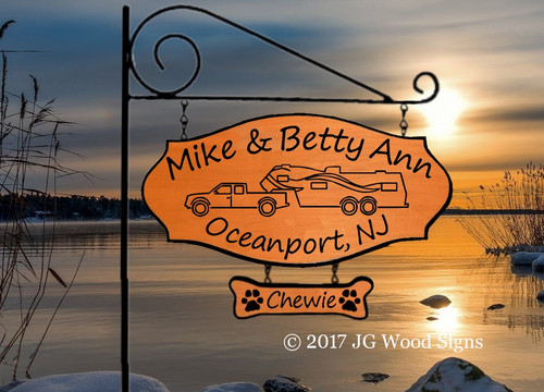 Camping Signs Personalized Gift Truck 5th Wheel Travel Trailer Camp Sign with Add on-  two first names and location -RV Graphic with Sign Holder Option JGWoodSigns Etsy Name Sign Wood Sign MikeBettyAnn