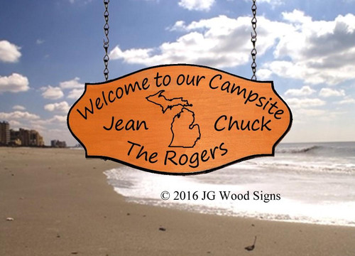 Camp Name Signs RV Outdoor Sign Custom State Outline - Wood Camping Sign - JG Wood Signs Carved Camper Sign with RV sign holder option Rogers