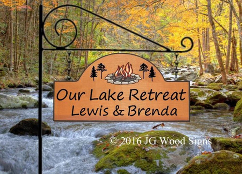 Personalized Name Sign - Our Lake Retreat -  Campfire Pine Graphic - Carved Sign Family Name Sign - Great Father's Day Gift - JGWoodSigns - Personalized Gift RV Sign LewisBrenda