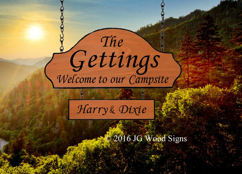Carved Campsite Signs, Custom Camp Sign