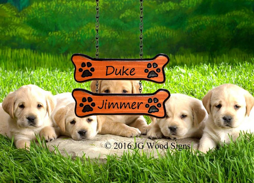 Custom Dog Signs Wood Carved Sign Dogbone Addon Quantity 2 - Custom Carved Cedar Sign Addon - Dogbone with Pawprints option - JGWoodSigns DukeJimmer