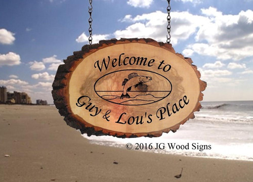 Outdoor Wooden Signs  Walleye Oval  Retreat  Sign - Medium Wood Slab Oval with Outer Bark - Custom Carved Cabin Lake Cottage Sign - Dad Gift JGWoodsigns Wood Camper Sign GuyLou