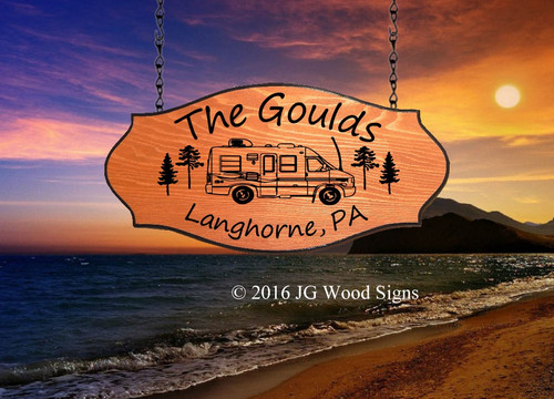 Custom Camping Sign - RV w/ Pine Trees - Name Sign with Sign Holder Option - JG Wood Signs Etsy Personalized Gift RV Signs  Gould