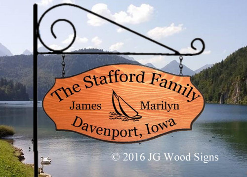 Custom Lake House Signs - Outdoor Sign with Sailboat Ripple Graphic - Custom Sign Camp Sign with Sign Holder option JG Wood Signs Etsy Lake Sign Cabin Sign Cottage Sign Stafford