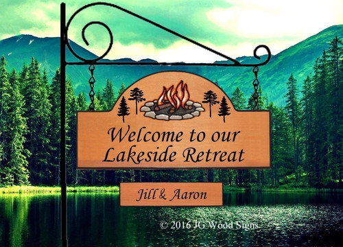 Custom Lake House Sign Camp Sign - Our Lake Retreat - Colored Campfire Pine Graphic with sign holder option JG Wood Signs  Etsy  Campsite Sign Lake Sign Cabin Sign LakesideRetreat