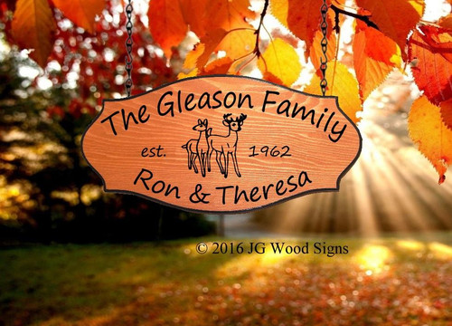 Wood Camping Signs - Deer Family Pine Graphic - Happy Camper Sign Personalized Gift Cedar Sign with 1 add on - Family Name - Sign Holder Option JGWoodSigns - Carved Wood Camping Signs Gleason