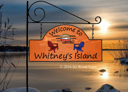 Custom Camping Sign - Sunset Adirondack Chair Graphic - Custom Sign Cottage Sign with Sign Holder Option JG Wood Signs Etsy Lake Sign Wood Sign WhitneysIsland