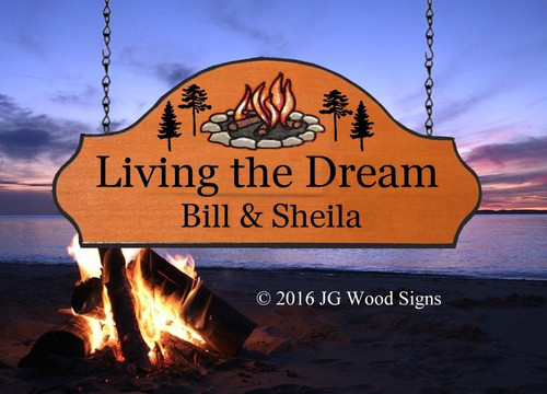 Camp Signs Personalized - Living the Dream - Colored Campfire Pine Graphic with sign holder option JG Wood Signs Etsy - Camping Sign Personalized Gift BillSheila