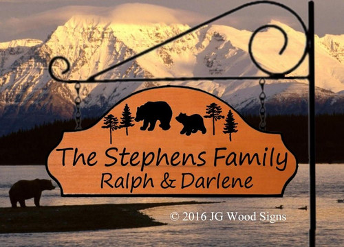 Bear Camping Signs Family Name Sign - Bear Pine  - RV Camping Sign with sign holder option JGWoodSigns Etsy Personalized Camping Sign Stephens