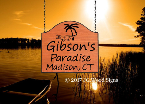 Personalized Gift Camper Sign - Alligator Palm w sign holder option - RV Name Sign - Wood Sign - JGWoodSigns Etsy Wood Camping Sign Gibson