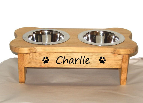 Custom Raised Dog Feeder - Double Bowl - for Small breeds - JG Wood Signs Charlie