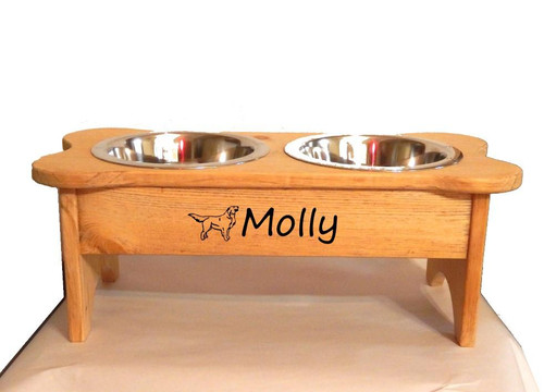 Personalized Raised Dog Dish  - Name with Dog Graphic - Double Bowl - for Medium breeds - JG Wood Signs - Golden - Your Choice of dog graphic Molly
