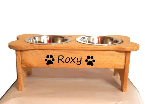 Personalized Raised Dog Dish  - Name with Dog Graphic - Double Bowl - for Medium breeds - JG Wood Signs - Golden - Your Choice of dog graphic Roxy