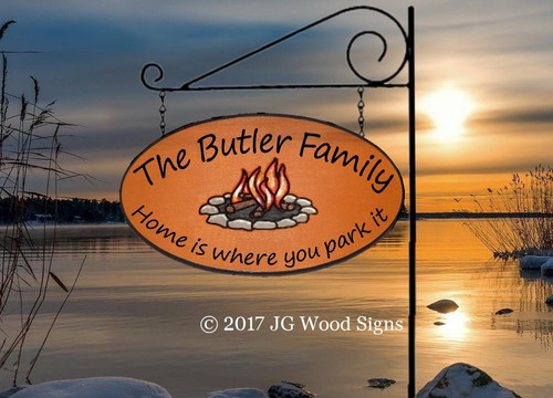 Wooden Camping Signs with Names Campfire Graphic - Carved Sign Wooden Lake House Sign with optional camping sign holder JGWoodSigns Etsy Camp Sign Butler