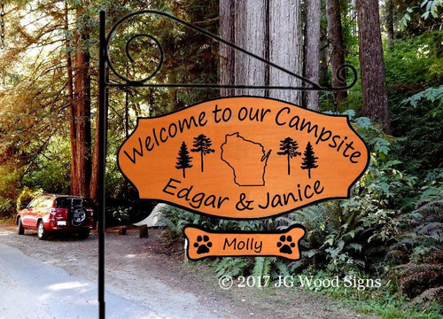 Wooden Camp Signs State Outline - Wood Camping Sign with 1 add on - Personalized Carved Wood Sign - Custom Outdoor Name Sign with Camping Sign Holder Option JG Wood Signs Camper Name Sign EdgarJanice