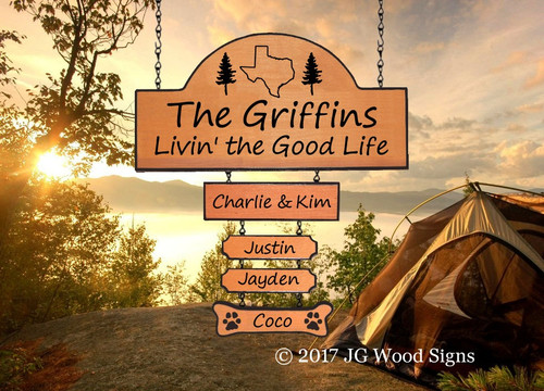 Personalized Gift Camp Sign - State Outline Pine Graphic with sign holder option JG Wood Signs Etsy Mom Gift Campsite Sign Griffin
