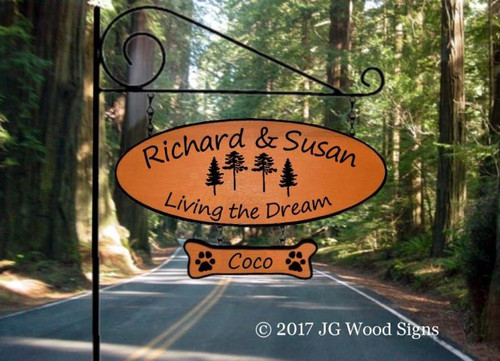 4 Pine Tree Name Sign