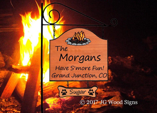 RV Family Name Signs Colored Campfire RV Camping Sign - Personalized Gift with Sign Holder Option Etsy JG Wood Signs Morgan