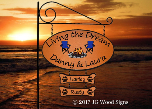 Wood Camper Signs - Large Oval Personalized Family Name Sign with 2 add on - Camping Chair Campfire Graphic - Custom Carved Wooden Camp Sign with Sign Holder option - JGWoodSigns  Custom RV Sign DannyLaura